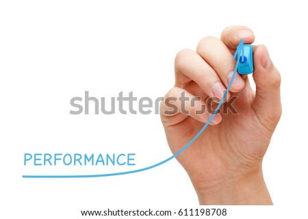 Hand drawing increased performance graph with blue marker on transparent wipe board. #611198708