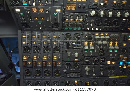 This is a cockpit of an Airplane. #611199098