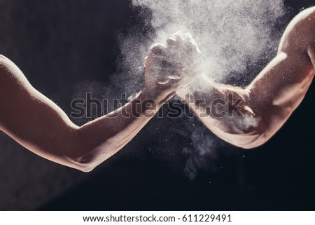 Hands together - fitness team after training - high five #611229491