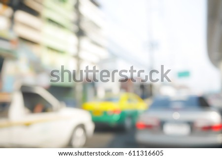 Picture blurred  for background abstract of Driving slow in a traffic jam #611316605