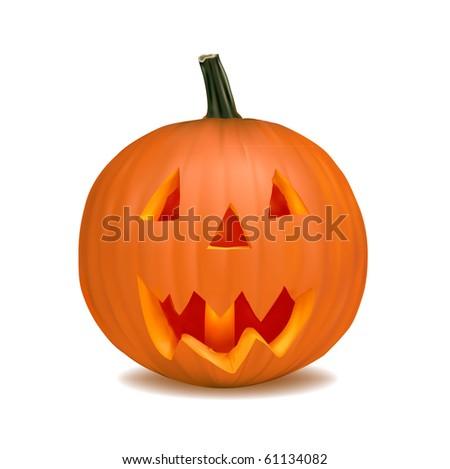 vector Halloween pumpkin vegetable fruit isolated on white background #61134082