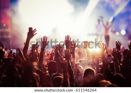 crowd at concert - summer music festival #611546264