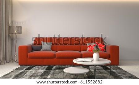 interior with sofa. 3d illustration #611552882