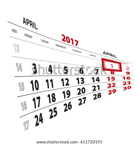 1 April highlighted on calendar 2017. Week starts from Monday. Vector Illustration. #611720195