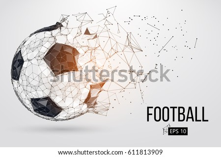 Silhouette of a football ball. Dots, lines, triangles, text, color effects and background on a separate layers, color can be changed in one click. Vector illustration