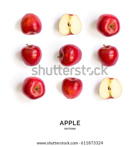 Seamless pattern with apples. Tropical abstract background. Red apple fruits on the white background. Royalty-Free Stock Photo #611873324