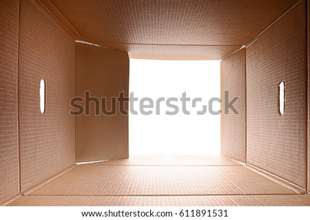 View from inside a cardboard box. White light outside.