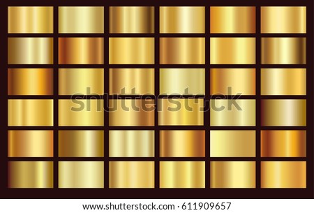 Gold foil texture background set. Vector golden, copper, brass and metal gradient template. Royalty-Free Stock Photo #611909657