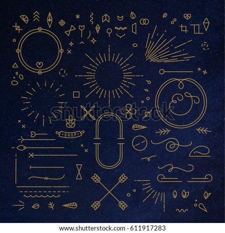 Flat design elements in vintage style drawing with gold lines on blue background Royalty-Free Stock Photo #611917283