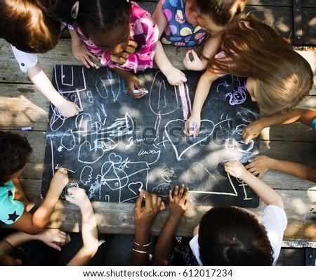 Diversity Group Of Kids Drawing Chalk Board #612017234