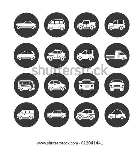 car icon set in circle buttons #612041441