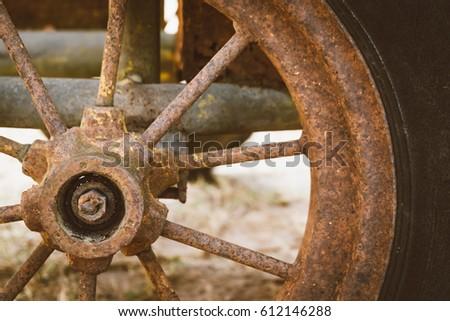 Rust wheel.,Background.,Retro tone photo style. #612146288