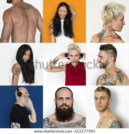 Set of Diversity People Showing Tattoo Lifestyle Studio Collage #612177983