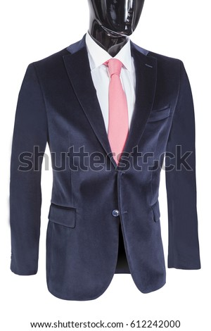 jacket with white shirt and tie on the black mannequin, white background #612242000