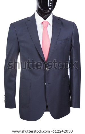 jacket with white shirt and tie on the black mannequin, white background #612242030