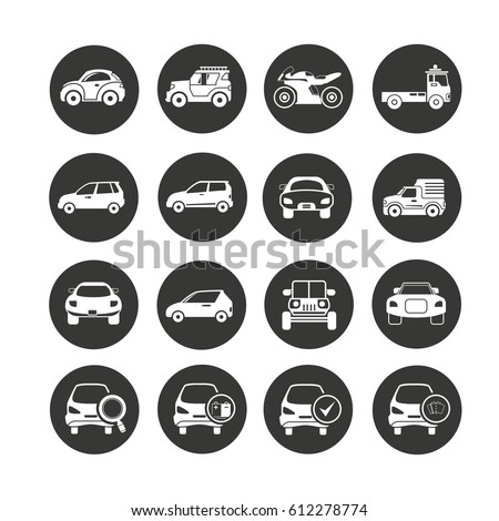 car icon set in circle buttons #612278774