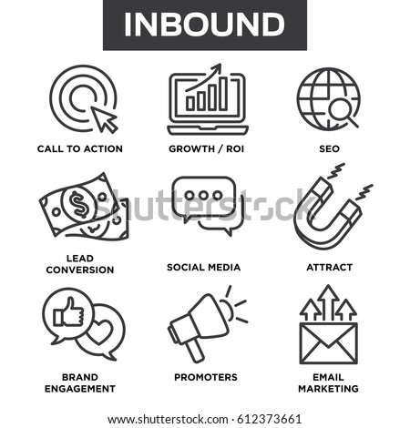 Inbound Marketing Vector Icons with growth, roi, call to action, seo, lead conversion, social media, attract, brand engagement, promoters, campaign, etc Royalty-Free Stock Photo #612373661