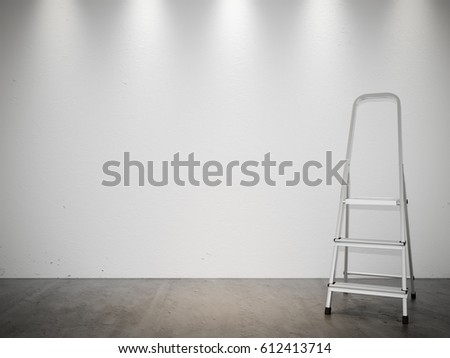 White Gray Stucco Concrete Wall and Floor Copy Space Background with Ladder. 3d rendering #612413714