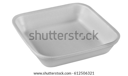 Plastic food tray,Styrofoam food tray isolated on white background #612506321