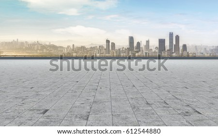 Road and city skyline #612544880