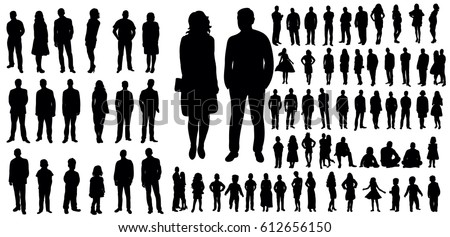 Collection of people silhouettes, vector illustration Royalty-Free Stock Photo #612656150