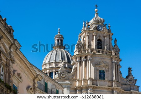 Abstract and conceptual of Sicilian Baroque, ancient town Ragusa. The places of Montalbano, Italian TV drama known throughout the world. From dusk to night, and the blue hour. #612688061