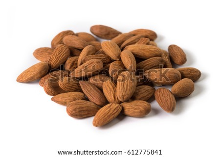Close-up almond nuts, isolated on white background #612775841