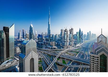 Amazing Dubai skyline at the sunset,Dubai,United Arab Emirates #612783125