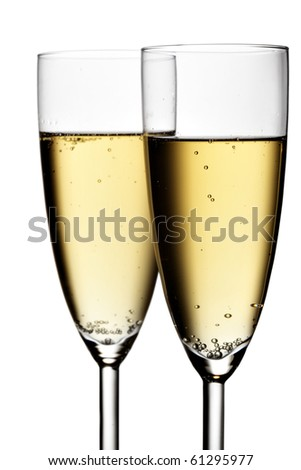Two glasses of champagne isolated over white background #61295977
