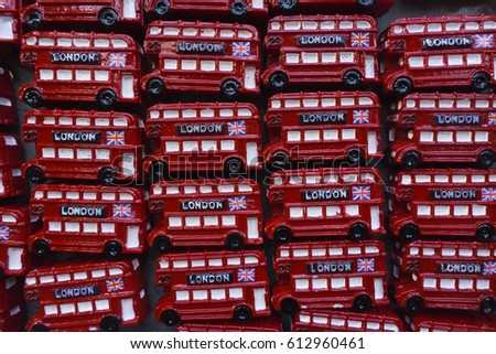 Close up of souvenir toy London double decker buses #612960461
