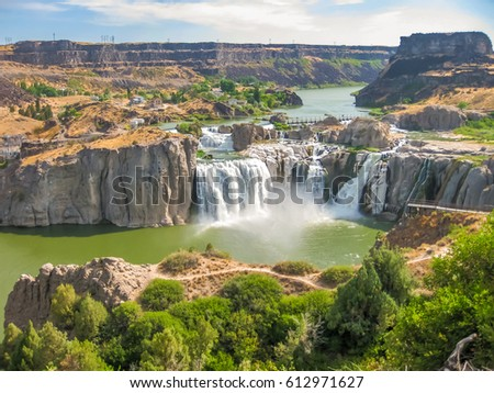 Spectacular aerial view of Shoshone Falls or Niagara of the West, Snake River, Idaho, United States. #612971627
