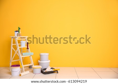 Set of tools and paints for making repair in flat Royalty-Free Stock Photo #613094219