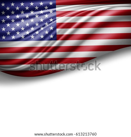America flag of silk with copyspace for your text or images and white background -3D illustration #613213760