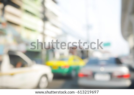 Picture blurred  for background abstract of Driving slow in a traffic jam #613219697