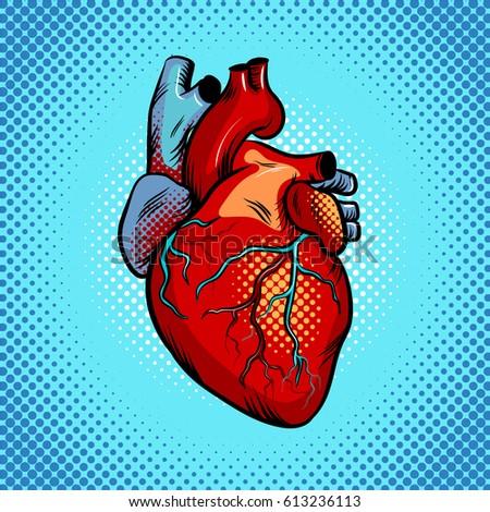 Human heart pop art retro raster illustration. Comic book style imitation.