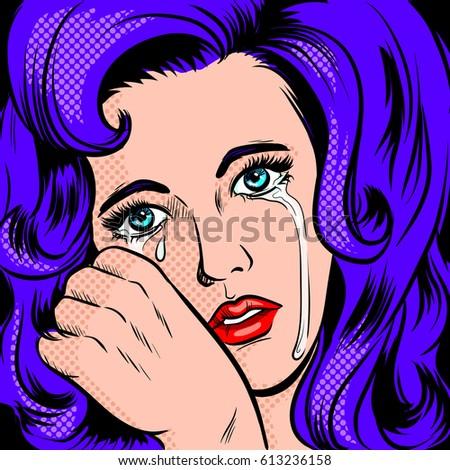 Sad girl crying pop art retro raster illustration. Comic book style imitation.