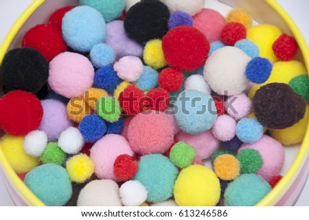 background  of colorful pompoms for creativity #613246586