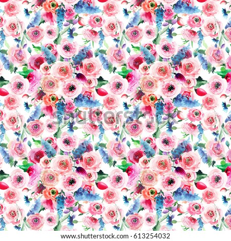 Beautiful bright tender wonderful elegant sophisticated lovely spring colorful wildflowers with buds and green leaves pattern watercolor hand sketch #613254032