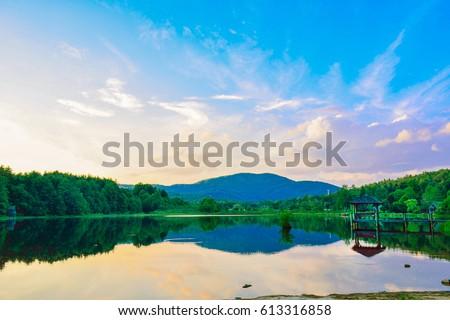 Low light of Cashiers lake at Cashiers city, Asheville, North Carolina, USA #613316858
