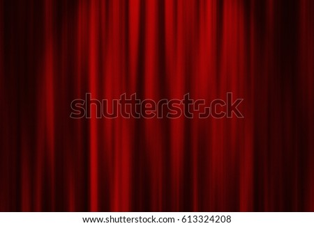 Theater red curtain with spot lighting Royalty-Free Stock Photo #613324208