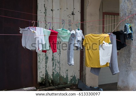 A shot of clothing on a dryline #613330097