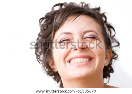 Close up portrait of very happy bride #61335679