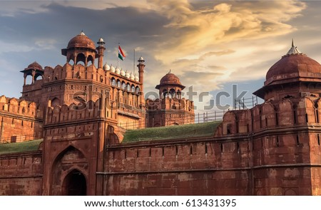 Red Fort Delhi at sunset with moody sky - A UNESCO World heritage site. #613431395
