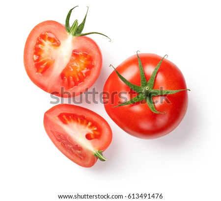 Fresh tomatoes on white background. Top view Royalty-Free Stock Photo #613491476