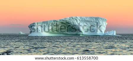 Fancy icebergs of different forms in the Disko Bay. Their source is by the Jakobshavn glacier. This is a consequence of the phenomenon of global warming and catastrophic thawing of ice, Greenland