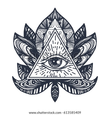 Vintage All Seeing Eye in Mandala Lotus. Providence magic symbol for print, tattoo, coloring book,fabric, t-shirt, cloth in boho style. Astrology, occult, esoteric insight sign with eye. Vector #613585409