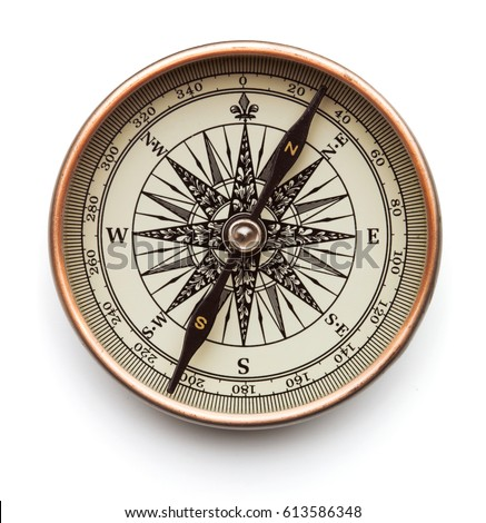 Vintage compass isolated on white background Royalty-Free Stock Photo #613586348