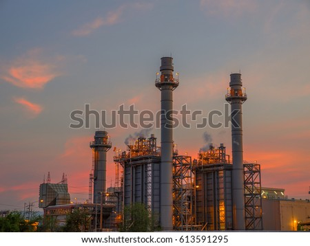 Twilight photo of power plant #613591295