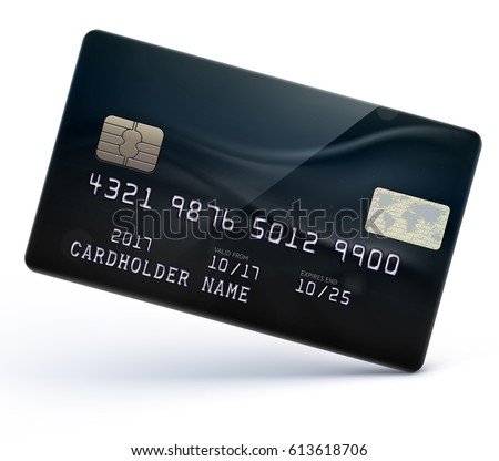 Vector illustration of detailed glossy black credit card isolated on white background Royalty-Free Stock Photo #613618706