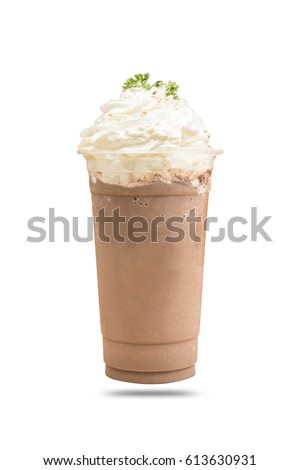 Cold cocoa with whipped cream isolated white background. #613630931